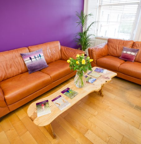 A pair of brown leather sofas against a purple wall with flowers on the table